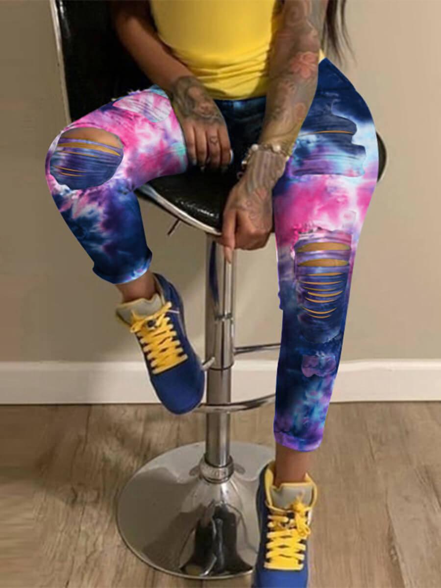 LW Plus Size Tie-dye Broken Holes Multicolor Jeans