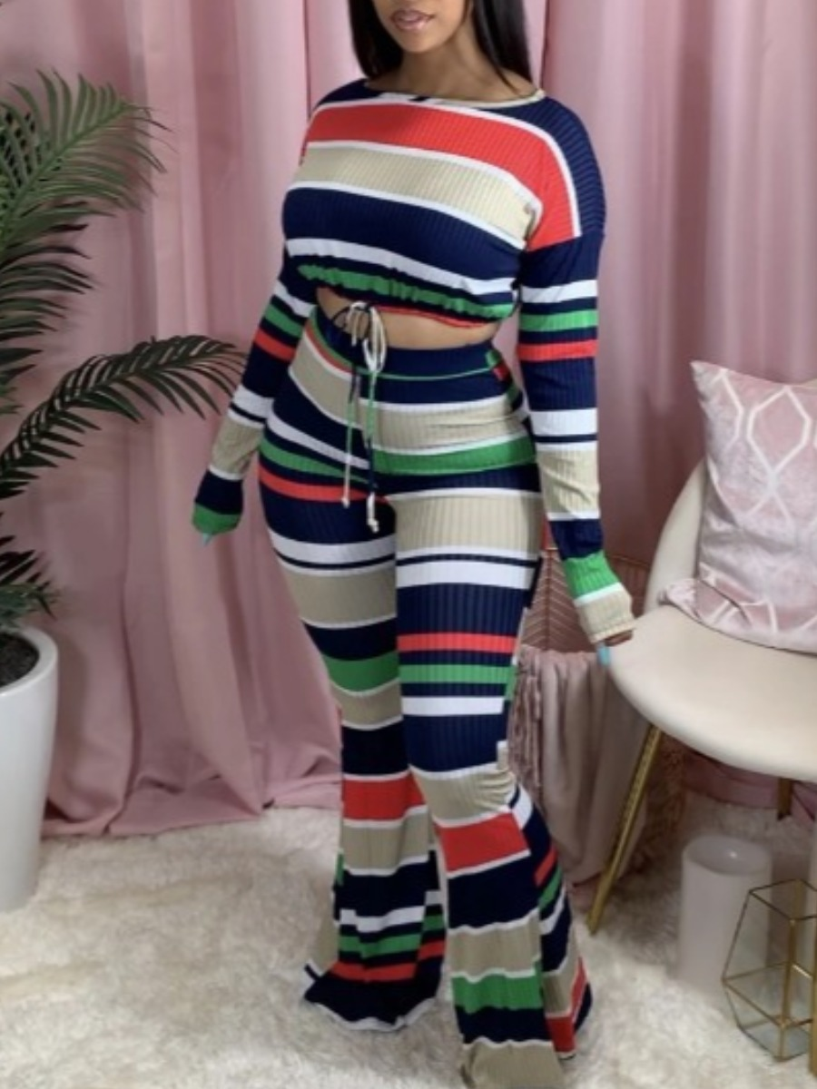 Two-piece Pants Set lovely Casual Rainbow Striped Green Two Piece Pants Set фото