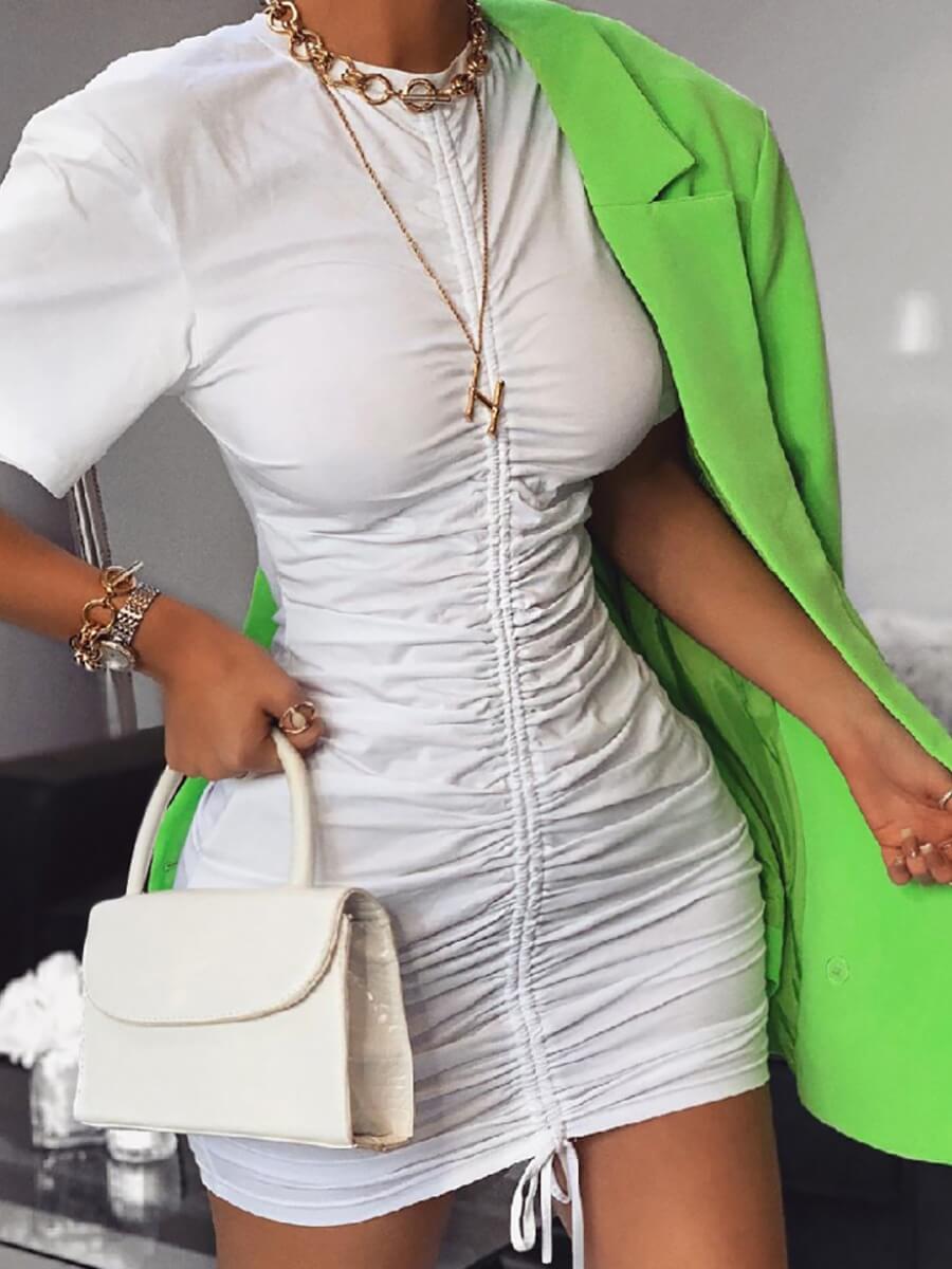 LW Sweet O Neck Fold Design White Mini Dress