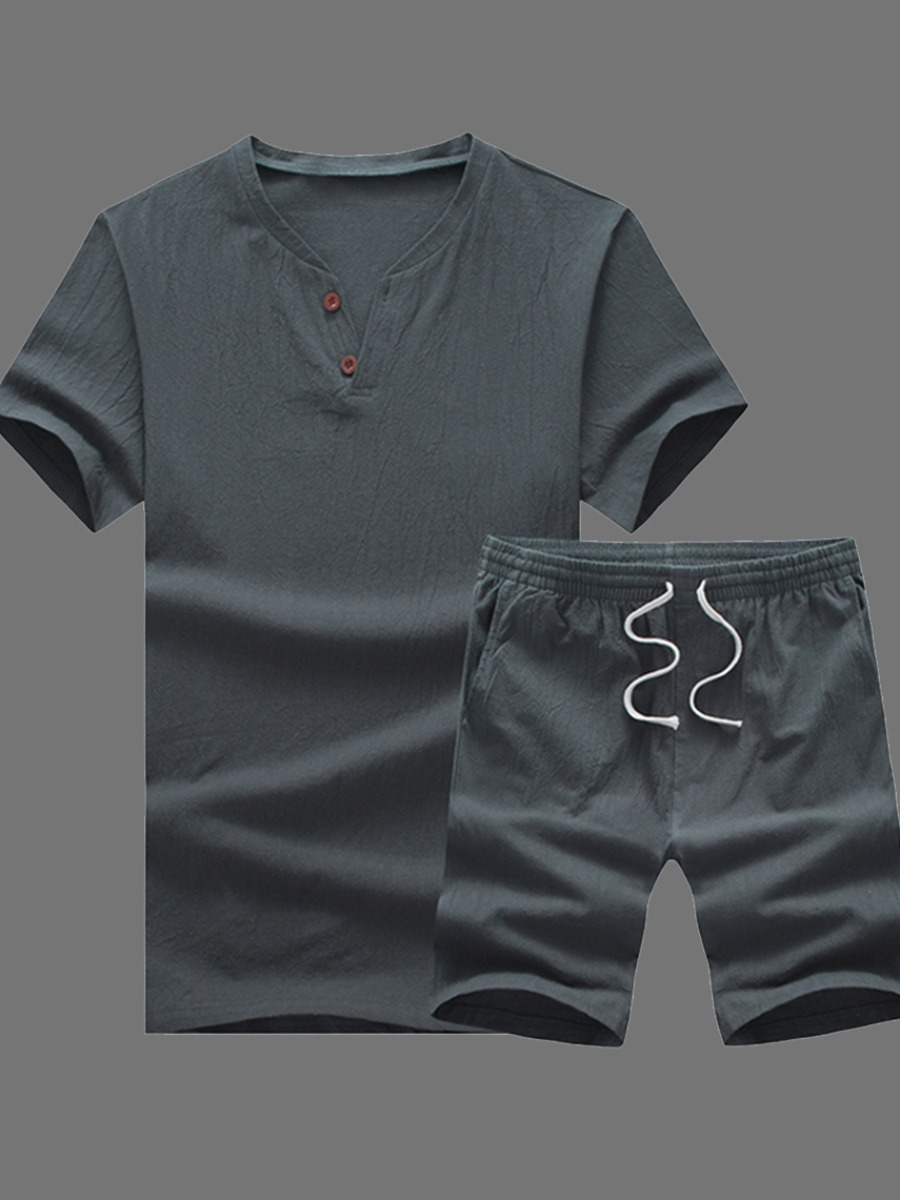 Men lovely Leisure O Neck Lace-up Dark Grey Two-piece Shorts Set фото