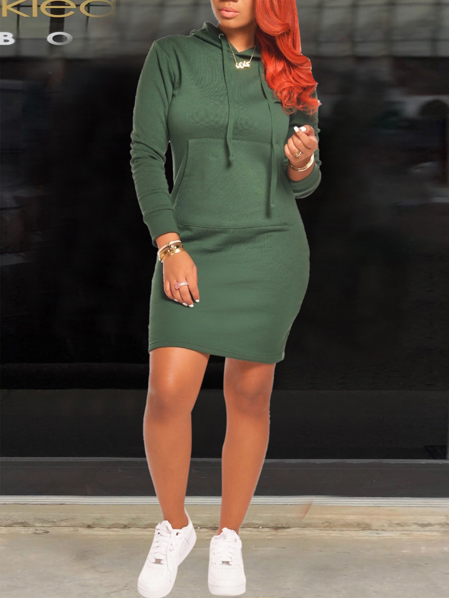 Lovely Sportswear Hooded Collar Pocket Patched Green Mini Dress фото