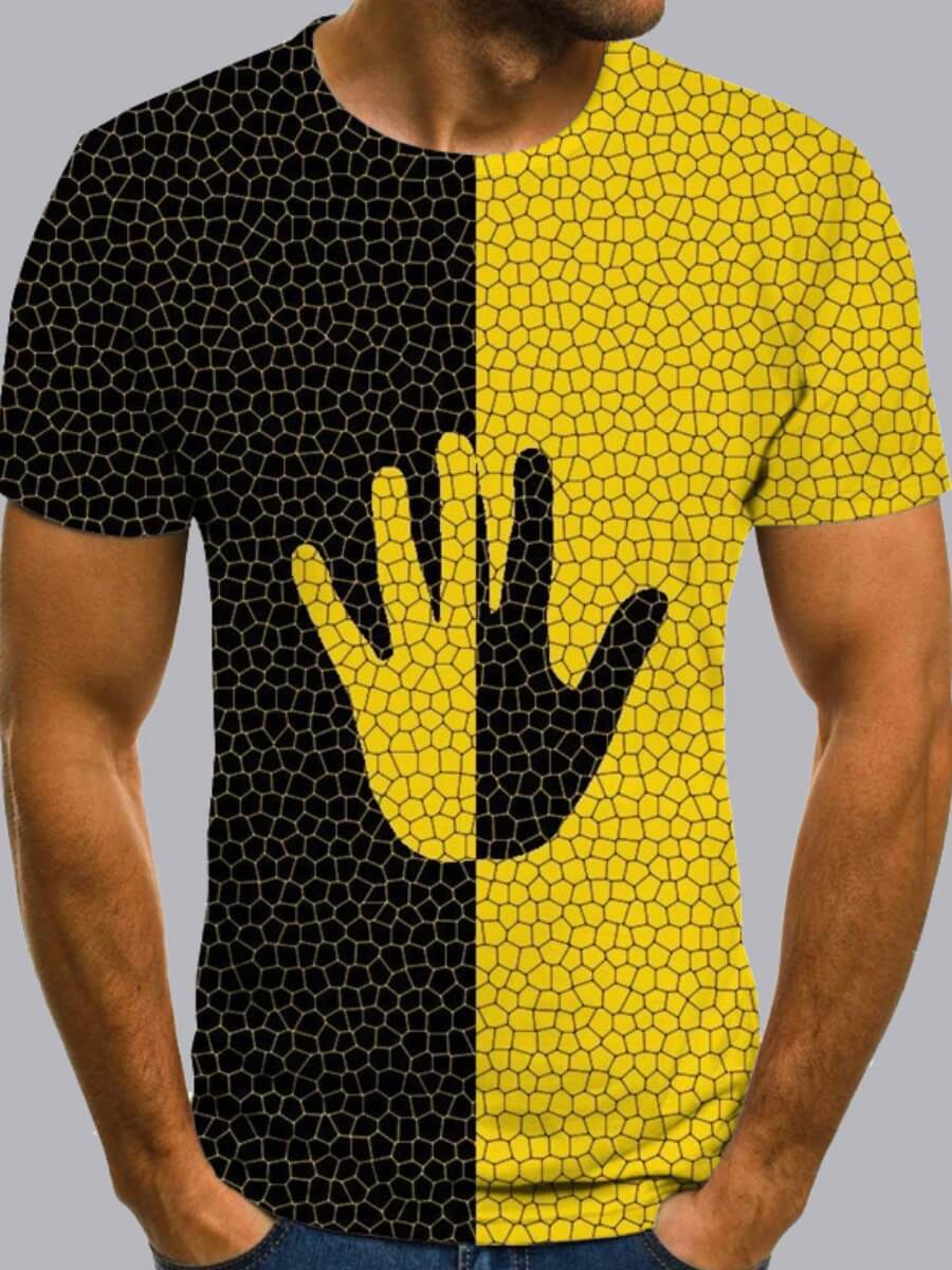 Men lovely Leisure O Neck Print Patchwork Yellow T-shirt фото