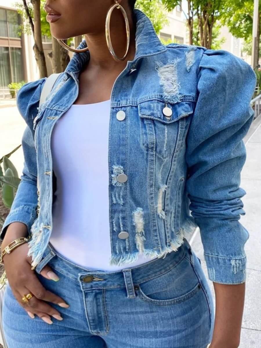 LW Plus Size Street Turndown Collar Buttons Design Blue Denim Jacket