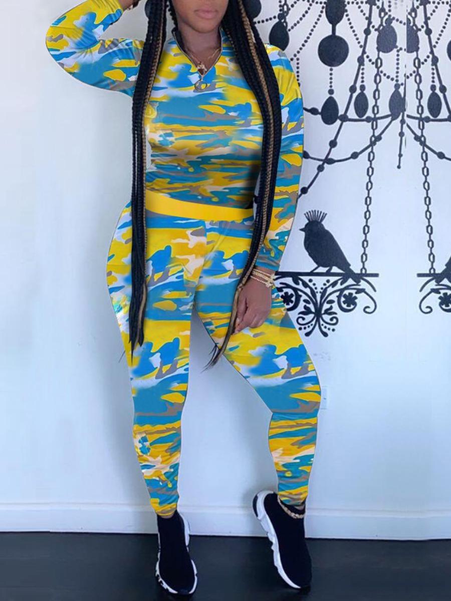 Two-piece Pants Set lovely Sportswear Tie Dye Skinny Yellow Two Piece Pants Set фото