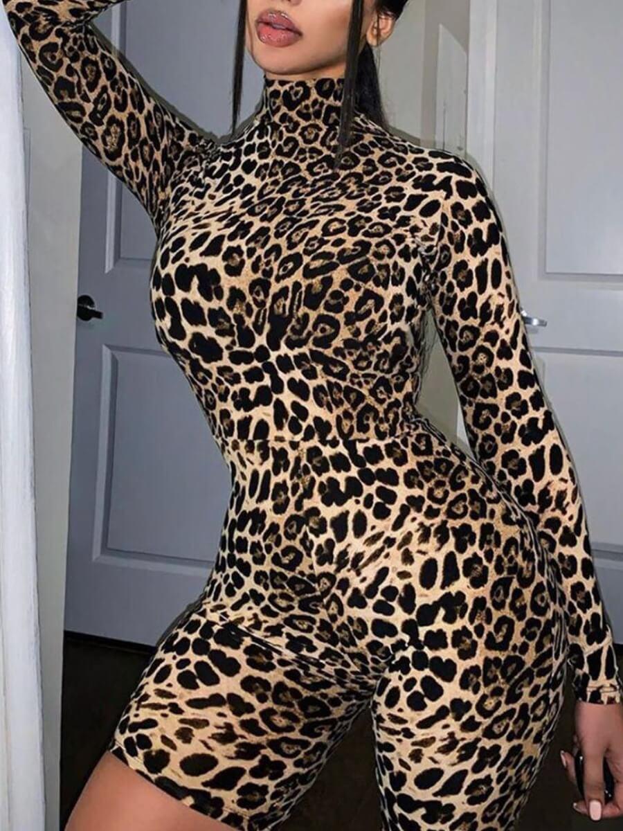 Rompers Lovely Trendy Leopard Print Skinny One-piece Romper фото
