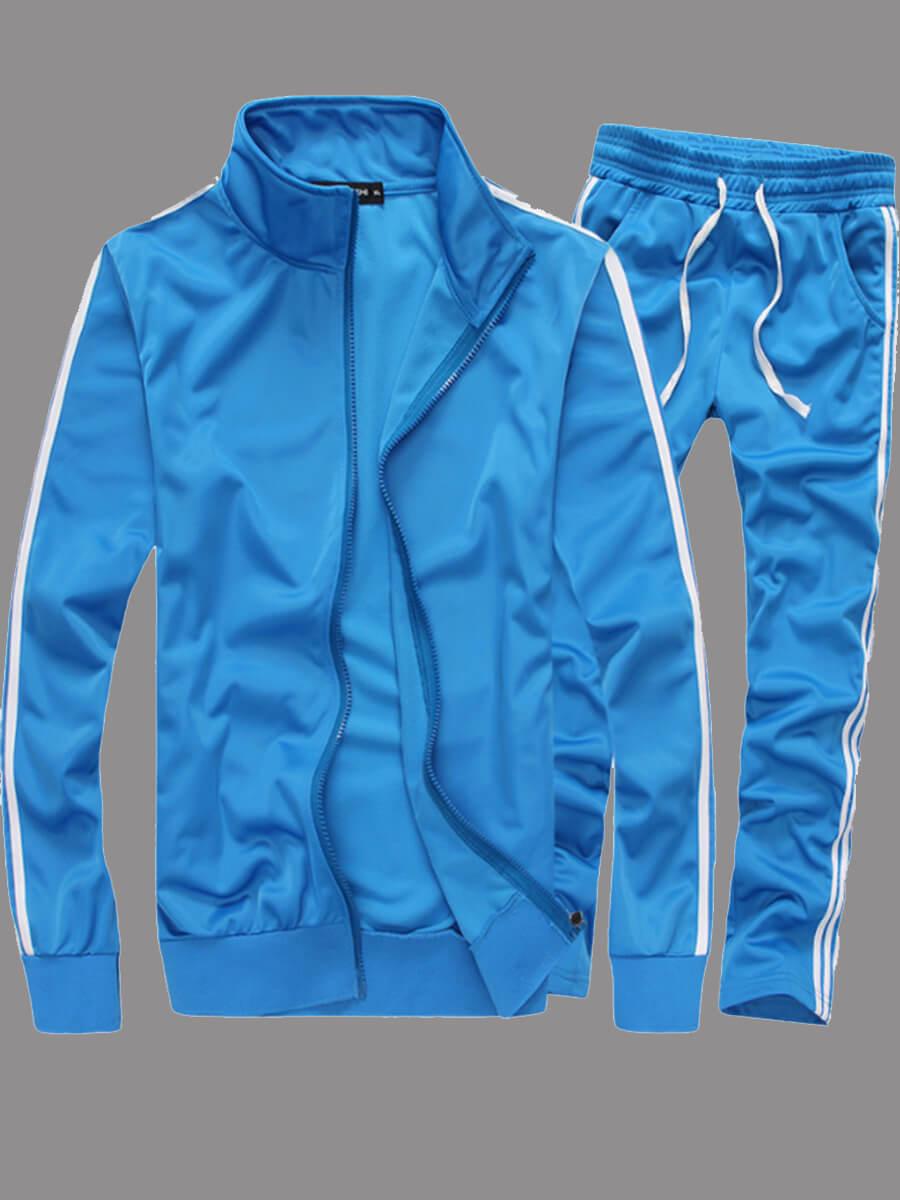 Lovely Sportswear Patchwork Zipper Design Skyblue Two-piece Pants Set фото