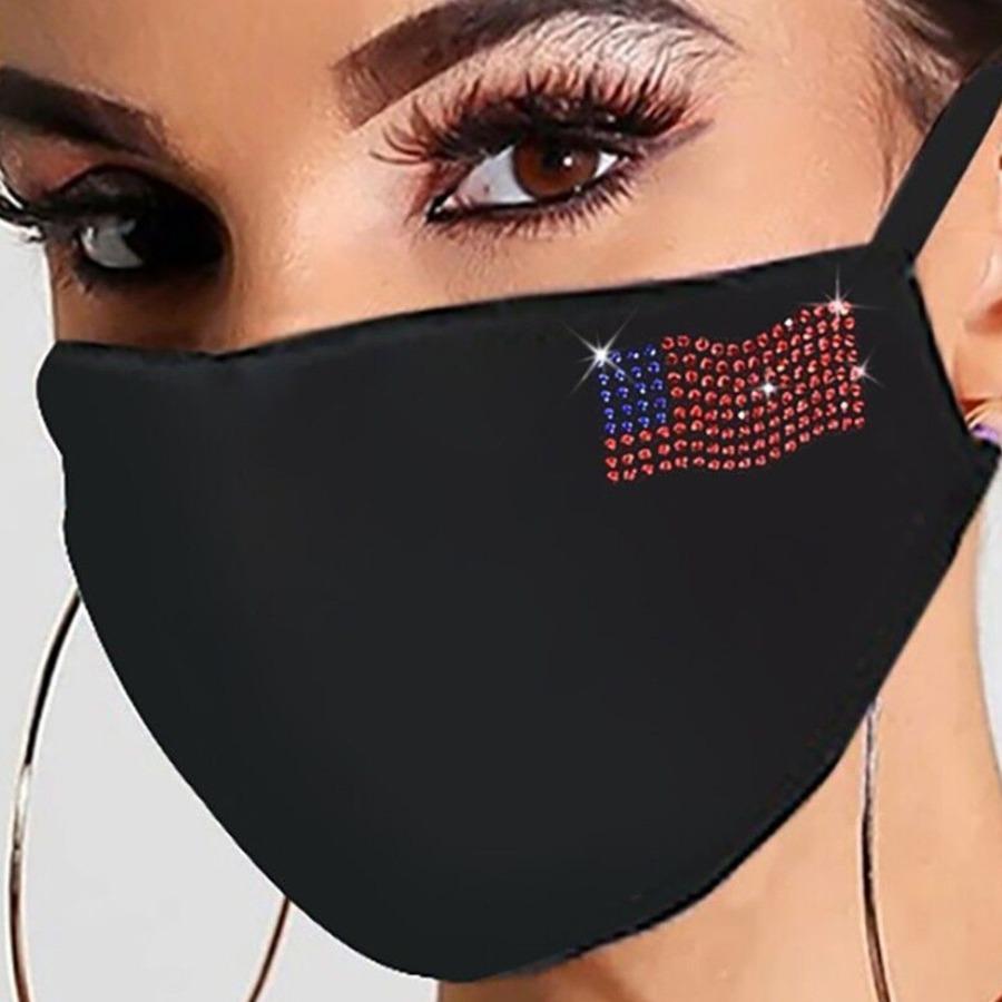 Lovely Rhinestone Decorative Black Face Mask фото