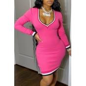 lovely Casual Deep V Neck Patchwork Pink Mini Dress