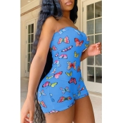Lovely Stylish Butterfly Print Blue One-piece Romp