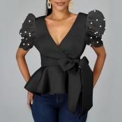 lovely Trendy Deep V Neck Flounce Design Black Blo