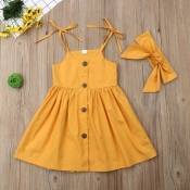 lovely Stylish Buttons Design Yellow Girl Mid Calf