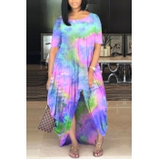 Lovely Casual O Neck Tie-dye Pink Maxi Plus Size D
