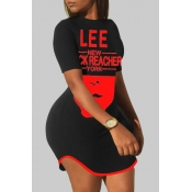 lovely Casual O Neck Letter Print Red Mini Plus Si