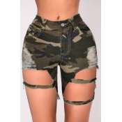 lovely Casual Camo Print Hollow-out Army Green Den