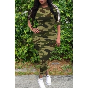 lovely Casual O Neck Camo Print Army GreenMid Cal