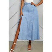 lovely Casual Side High Slit  Blue Denim Skirt