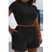 lovely Casual Skinny Black Two Piece Shorts Set