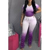 Lovely Casual Gradual Change Purple Two Piece Pants Set