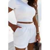 lovely Casual Skinny White Two Piece Shorts Set