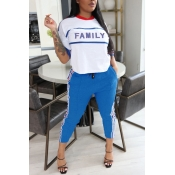 lovely Leisure Letter Print Blue Two Piece Pants S