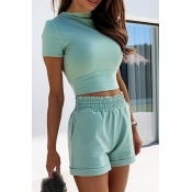lovely Casual Skinny Blue Plus Size Two-piece Shor