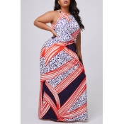 lovely Casual Print Multicolor Maxi Plus Size Dres