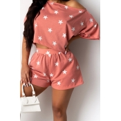 lovely Leisure O Neck Pentagram Print Pink Two Pie