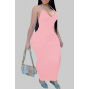 lovely Sexy Backless Pink Ankle Length Plus Size D