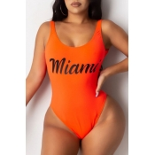 lovely Letter Print Croci Plus Size One-piece Swimsuit