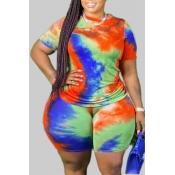 lovely Leisure O Neck Tie-dye Multicolor Plus Size