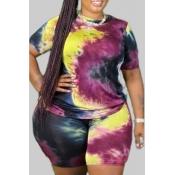 lovely Leisure O Neck Tie-dye Black Plus Size Two-