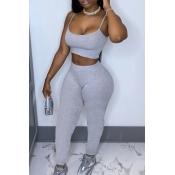 lovely Sportswear Basic Skinny Grey Two Piece Pants Set