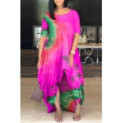 lovely Casual O Neck Tie-dye Rose Red Maxi Dress