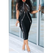lovely Sexy Backless Patchwork Black Mid Calf Dres