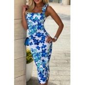lovely Trendy Floral Print Skyblue Knee Length Dre