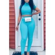 lovely Stylish Skinny Blue Two Piece Pants Set