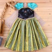 lovely Sweet Print Patchwork Green Ankle Length Dr