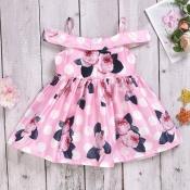 lovely Sweet Print Pink Girl Knee Length Dress