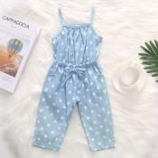 lovely Stylish Dot Print Baby Blue Girl One-piece