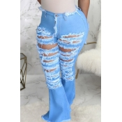 lovely Casual Broken Holes Blue Plus Size Jeans