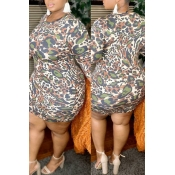lovely Stylish O Neck Leopard Print Mini Plus Size