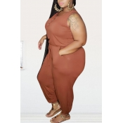 lovely Leisure Buttons Design Croci Plus Size One-