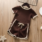 lovely Sportswear O Neck Patchwork Brown Girl Two-