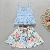 lovely Sweet Floral Print Baby Blue Girl Two-piece