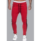 lovely Sportswear Patchwork Red Pants
