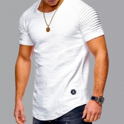lovely Casual O Neck Fold Design White T-shirt