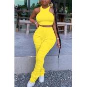 lovely Stylish Fold Design Yellow Two Piece Pants