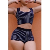 lovely Casual U Neck Striped Black Two-piece Short