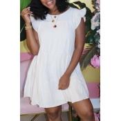 lovely Sweet O Neck Fold Design White Knee Length