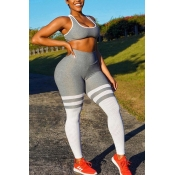 lovely Sportswear Patchwork Hollow-out Grey Two-pi